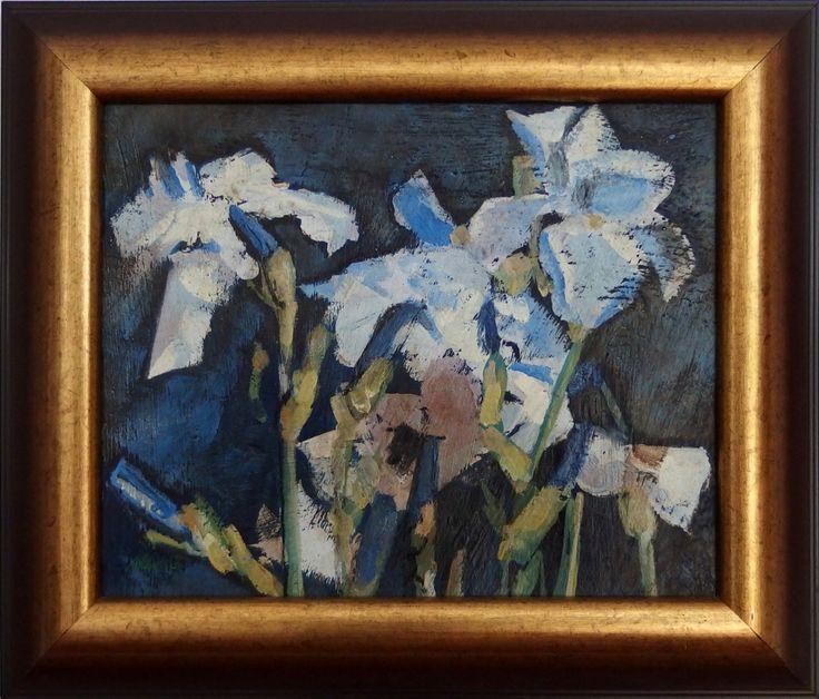 Ladislav Majoroši - Kosatce (modré), olejomaľba na sololite, 30 x 37 cm, 1998