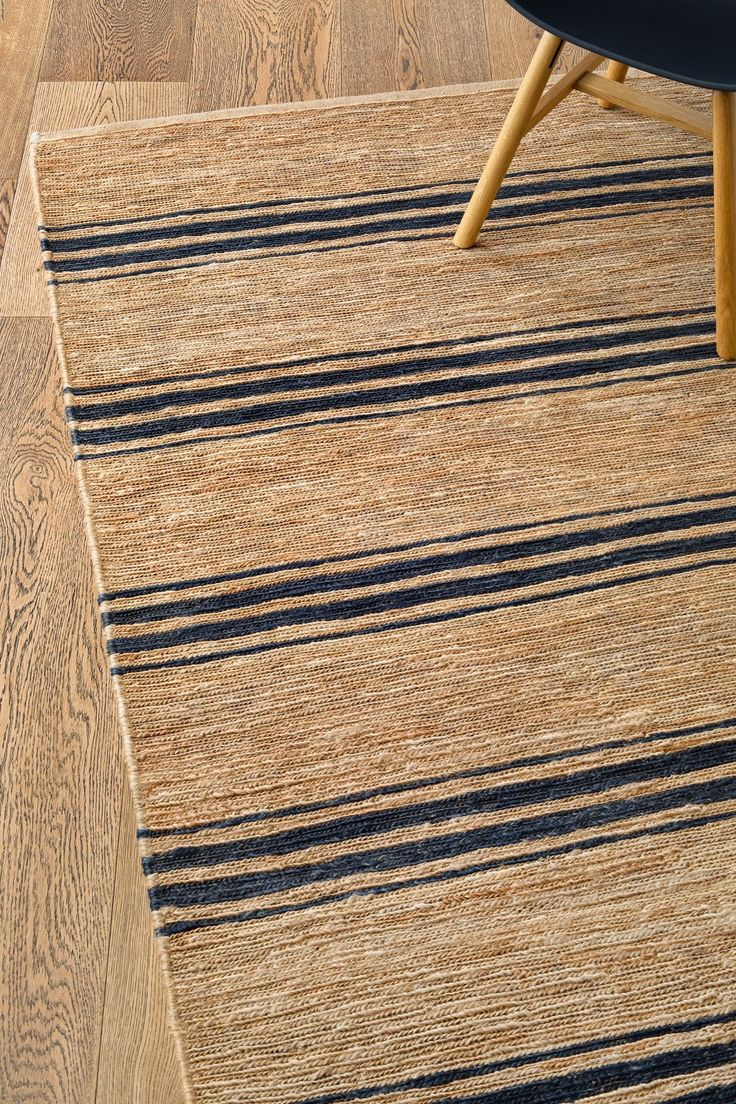 Indigo Ticking Stripe River - Armadillo Floor Rug from Curious Grace