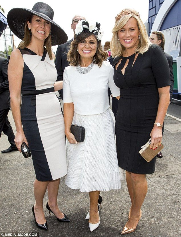 Teetering around: Sam and Natalie join Lisa sporting elegant shoewear but Sam's were the m...