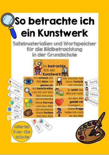Bildbetrachtung im Kunstunterricht der Grundschule – Tafelmaterial und Wortspeicher – Unterrichtsmaterial in den Fächern Kunst