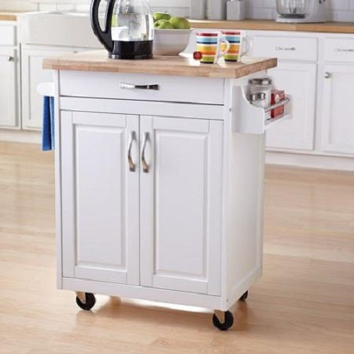 Belham Living White Mid Size Kitchen Island With Stainless: Kitchen Island Cart Rolling Wood Cabinet Utility Storage