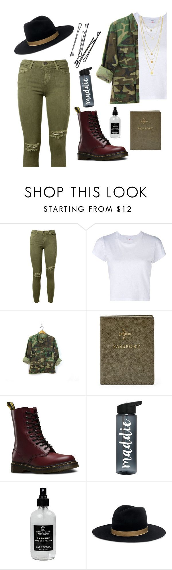"""Cargo"" by andra-andu ❤ liked on Polyvore featuring Current/Elliott, RE/DONE, BOBBY, FOSSIL, Dr. Martens, Little Barn Apothecary and Janessa Leone"