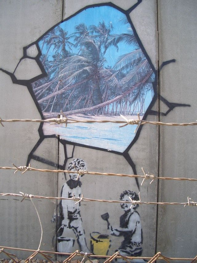 """""""banksy, West Bank Wall, Spray Paint, 2005"""" How Does Banksy Make Money?"""