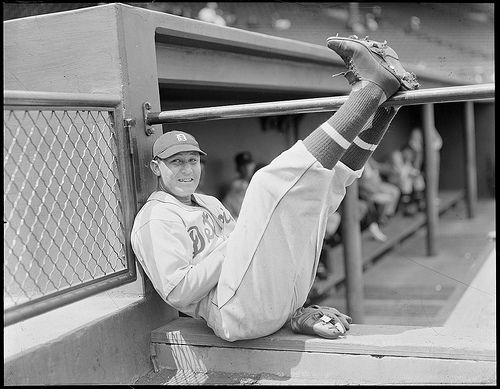 Detroit Tiger player, Rudy York, puts his feet up on the dugout railing at Fenway Park, 1937 | Flickr - Photo Sharing!