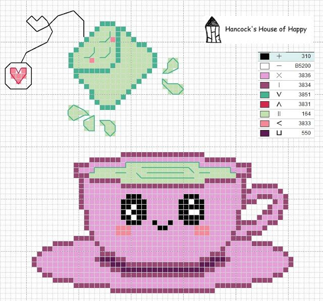 Super cute kawaii tea party. Free cross stitch chart at Hancock's House of Happy