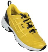 Armani EA7 Yellow and Black C-Cube Prima Trainers Yellow material trainers. Black tongue with rubberised EA7 logo. Carbon cushion control. Black panel to heel. Black EA7 logo to outer panel. Heel tab. White rubber edging to sole. Black and yellow sol http://www.comparestoreprices.co.uk/mens-clothes/armani-ea7-yellow-and-black-c-cube-prima-trainers.asp