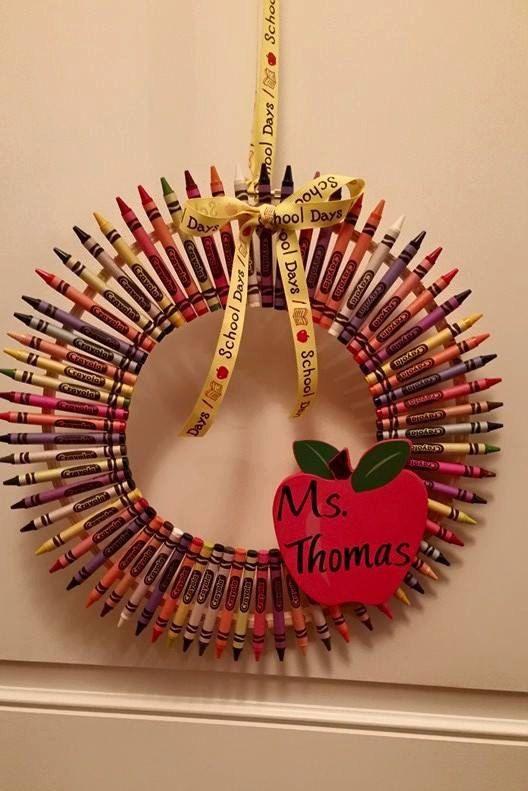 Teacher Crayon Wreath by AtoZCraftsandDesigns on Etsy