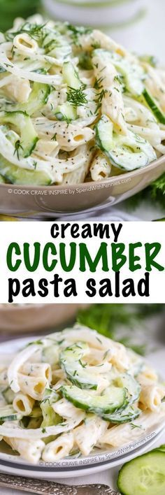 Creamy Cucumber Pasta Salad! This summery pasta salad combines our favorite cucumber salad with fresh dill and pasta for the perfect potluck side dish!