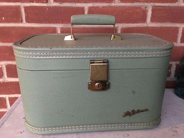 vintage train case makeup suitcase Green  | eBay