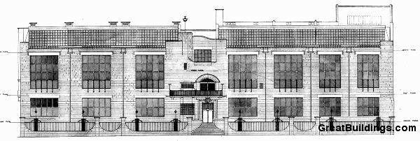 Школа искусств в Глазго, главный фасад . Макинтош