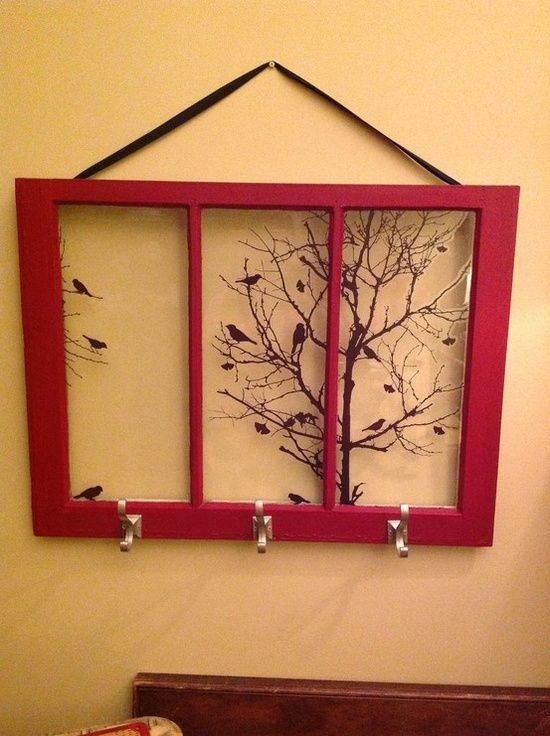 Windows Makeover  With the wood painted red and a sweet bird family in a tree, this is such a great project!