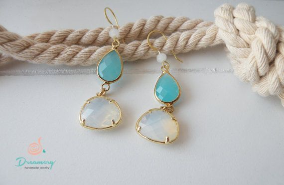 mint-white crystals- earrings - golden filled earings