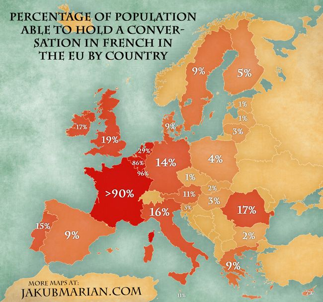 158 best kaarten images on pinterest historical maps maps and cards map of the percentage of eu population speaking french gumiabroncs Choice Image