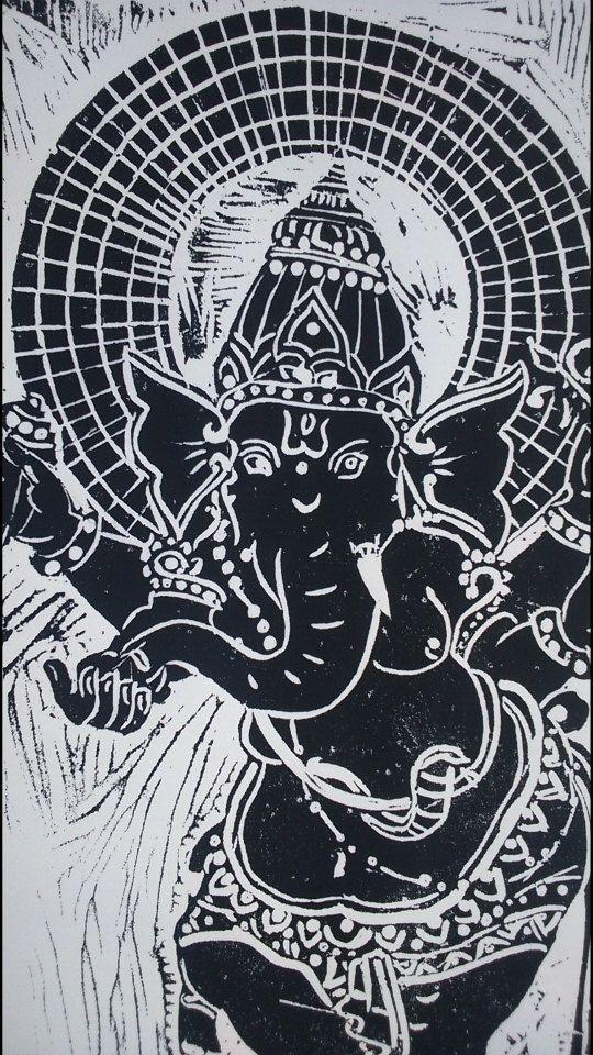 Ganesha / Kunst Poster / viel Glück / Elefantengott / indisch inspirierte Kunst / Kunst des Yoga / Meditation Room Decor