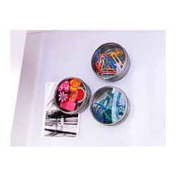 Cool way to store/display pins, clips etc. on back wall or near stations.   GRUNDTAL Container - IKEA