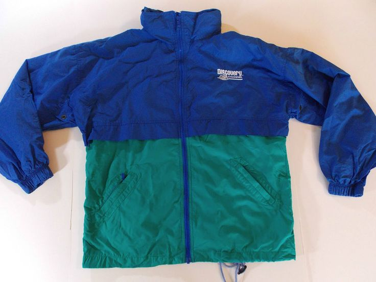 Large Mens Discovery Channel Blue Green Jacket Coat Light Wind Rain TV T1 #DiscoveryChannel #BasicJacket