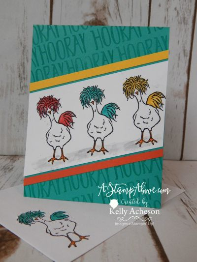 Stamp Sets: Perfectly Wrapped (Hooray) Hey, Chick (2017 SAB) Bermuda Bay 4-1/4 x 11, scored at 5-1/2 Daffodil Delight 1/4  x 5 Calypso Coral 1/4 x 5 Whisper White 2-1/2 x 5-1/2