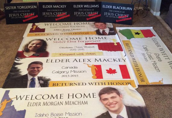 What a great way to celebrate, remember, and welcome home your missionary * You will need to email me up a picture you would on the banner--good