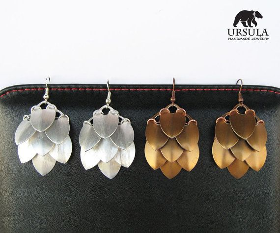 Scalemail statement earrings by Ursula Handmade Jewelry.    You are gonna love them!  Make a statement, reveal the warrior!  Or be a khaleesi,