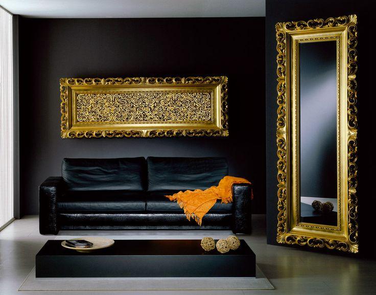 Corpo illuminante e specchio cornice barocca oro foglia accessori per la casa body light and - Specchio cornice nera barocca ...