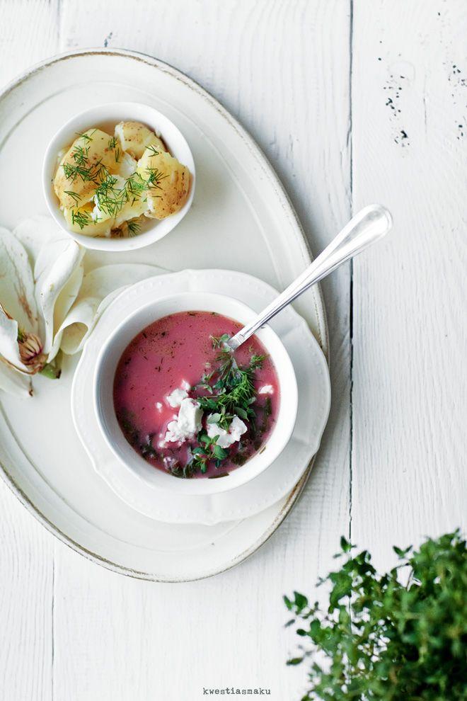 Zupa botwinkowa z tymiankiem i serem feta