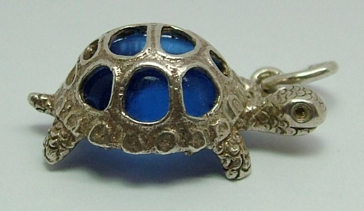 1970's Silver Tortoise Charm With Blue Crystal Glass Shell Silver Charm - Sandy's Vintage Charms