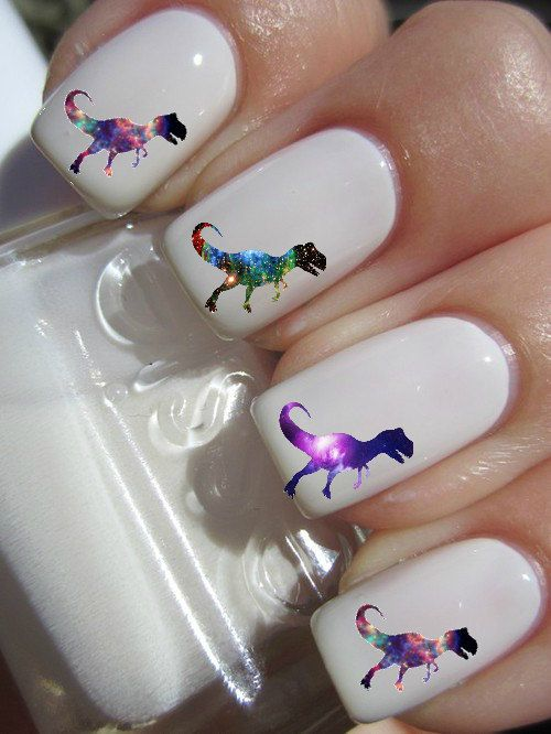 Galaxy TRex Nail Decals by PineGalaxy on Etsy