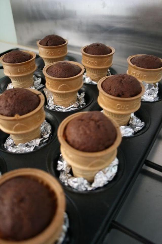 Chocolate Ice Cream Cone Cupcakes