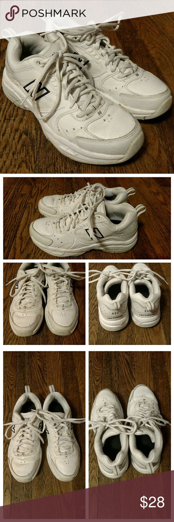 New Balance White Leather Walking Shoes Size 6 They have some normal wear but overall they are in good condition.  No holes, rips, or major problems. New Balance Shoes Athletic Shoes
