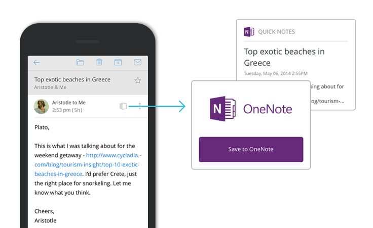 Save an email to OneNote with just a tap!
