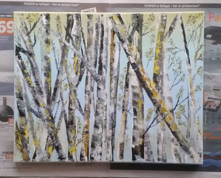 Abstract painting of some birch trees with a blue and yellow background. Painted with water soluble oil paint.