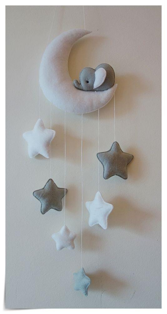 Sleepy Elephant Moon et étoiles décor de pépinière (gris argenté   – Diy Baby Ideen