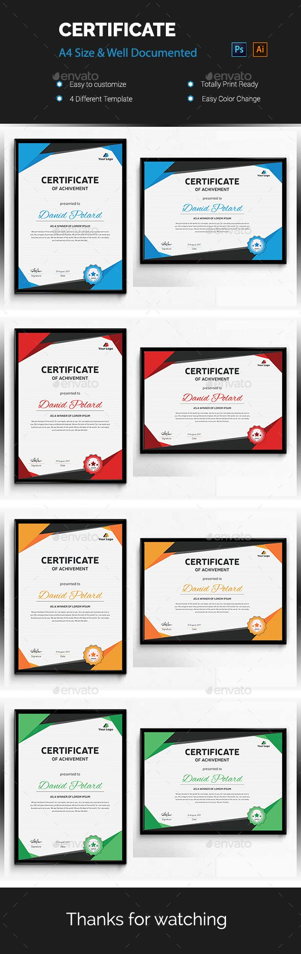 #Certificate - Certificates #Stationery Download here: https://graphicriver.net/item/certificate/20299983?ref=alena994