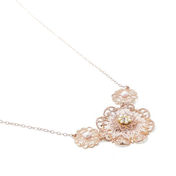 Red gold Necklace, Bridesmaid Necklace, Evening Necklace, Rose Gold Necklace Women medley, Designer Necklace, Bridal Flower Uniq Necklace
