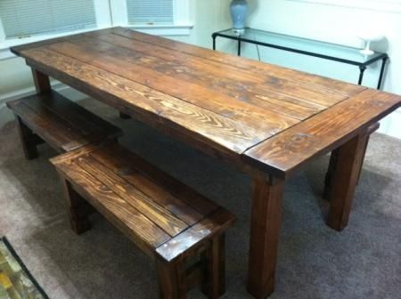 """DIY farm house table. Awesome. An Heirloom for your children, and bragging rights with the neighbors. """"Yeah, we made this table."""""""