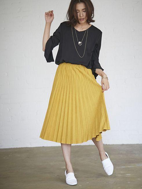 【Fake suede pleats skirt 】レディース プリーツ スカート