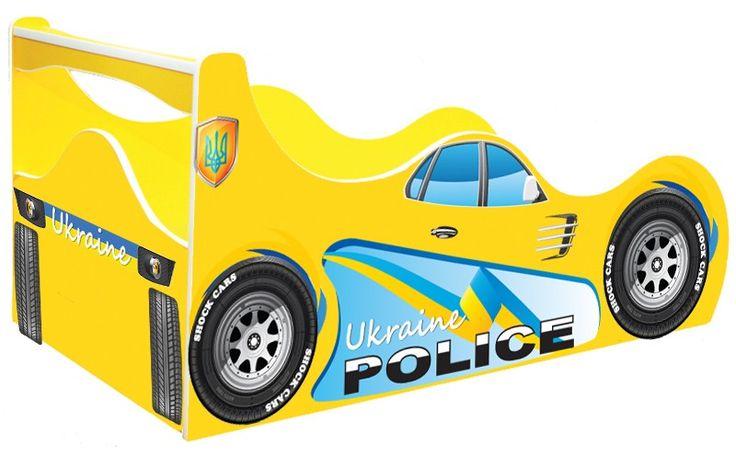 """• КРОВАТИ МАШИНЫ Shock Cars """"Кровать машина Полиция Украина"""" Кровать машина Полиция (Police) желтая"""