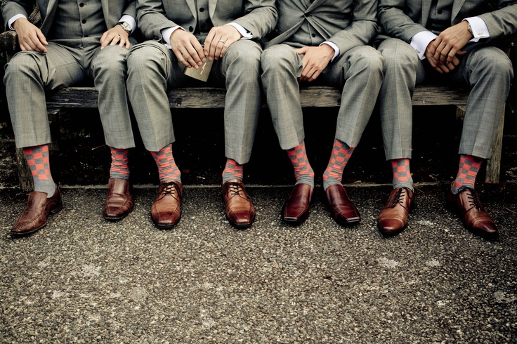 grey suit sweet socksbrown shoes something borrowed
