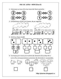 FISE de LUCRU clasa pregatitoare - MEM - Matematica si Explorarea Mediului | Fise de lucru - gradinita