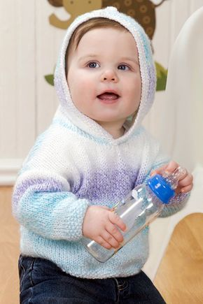 3babcd9c2 Free Knitting Pattern for Easy Soft and Sweet Hoodie - This hooded ...