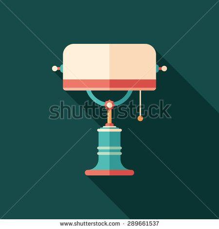 Retro desk lamp flat square icon with long shadows. #homeinterior #homefurniture #flaticons #vectoricons #flatdesign