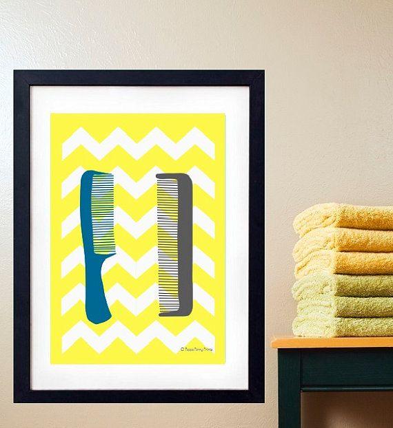 Poster Print Art Badezimmer Kämme Chevron Gelb Von PeppaPennyPrints, $12.99