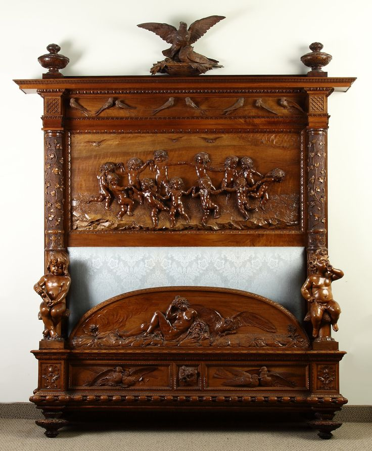 Luigi Frullini (Florence, 1839-1897) Monumental Victorian Masterfully Carved  Walnut Bed |. Antique Bedroom FurnitureAntique ... - 408 Best Exhibition - Black Forest And Other Wood Carving Images
