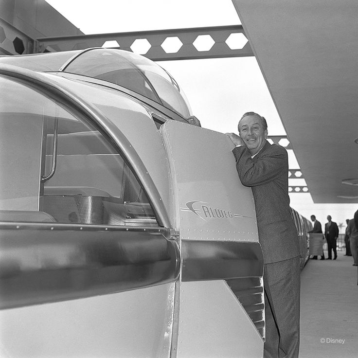 1961 Walt Disney poses for a photo with the then-newly-minted Disneyland Monorail expansion. IMAGE: DISNEY ENTERPRISES, INC.