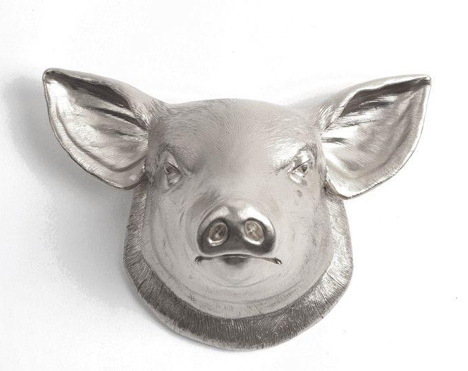 The Hamlet - Silver Faux Pig Head - Farmhouse Decor - Pig Decor - Kitchen Decor - Faux Taxidermy - Chic Pig Sculpture - Farm Animal Decor