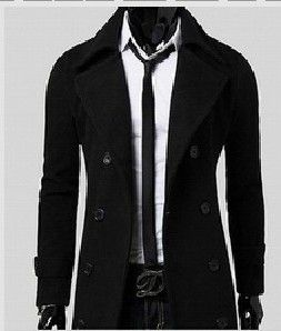 New trench coat men solid color long trench coat mens trench coat slim fit trench Double Breasted Overcoat 3 colors