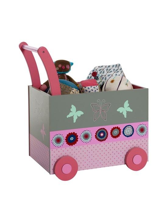 Coffre à jouets bébé avec roulettes thème flor'ailes GRIS MOYEN BICOLOR/MULTICOLOR - vertbaudet enfant