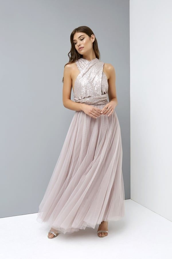 76f54e88acb Little Mistress Mink Multiway Maxi Dress with Sequin Top ...