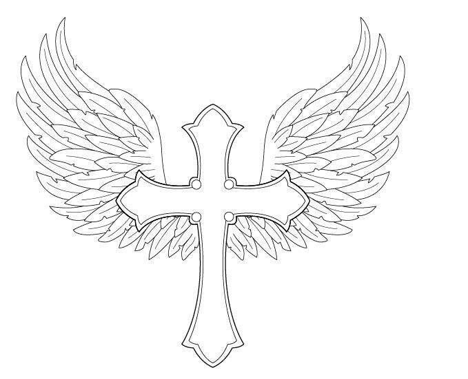 Cross With Angel Wings Drawings Sketch Coloring Page