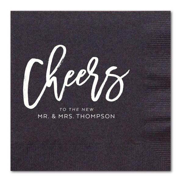 The Cutest Picks for Your Signature Wedding Cocktails | Wedding Paper Divas does it again! These personalized cocktail napkins are too cute and can be customized to fit any wedding theme or style. With a variety of colors, inks, and designs to choose from, creating the perfect personalization touch has never been easier. ($34.99+; weddingpaperdivas.com)
